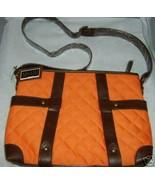 MAGGI B Quilted Cross Body Handbag Purse Tangerine Dark Brown Trim NWT M... - $44.97
