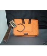 MAGGI B Derby Time Quilted Wristlet Handbag Clutch Purse Tangerine NWT - $32.97