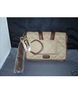MAGGI B Derby Time Quilted Wristlet Handbag Clutch Bag Beige & Brown NWT - $32.97
