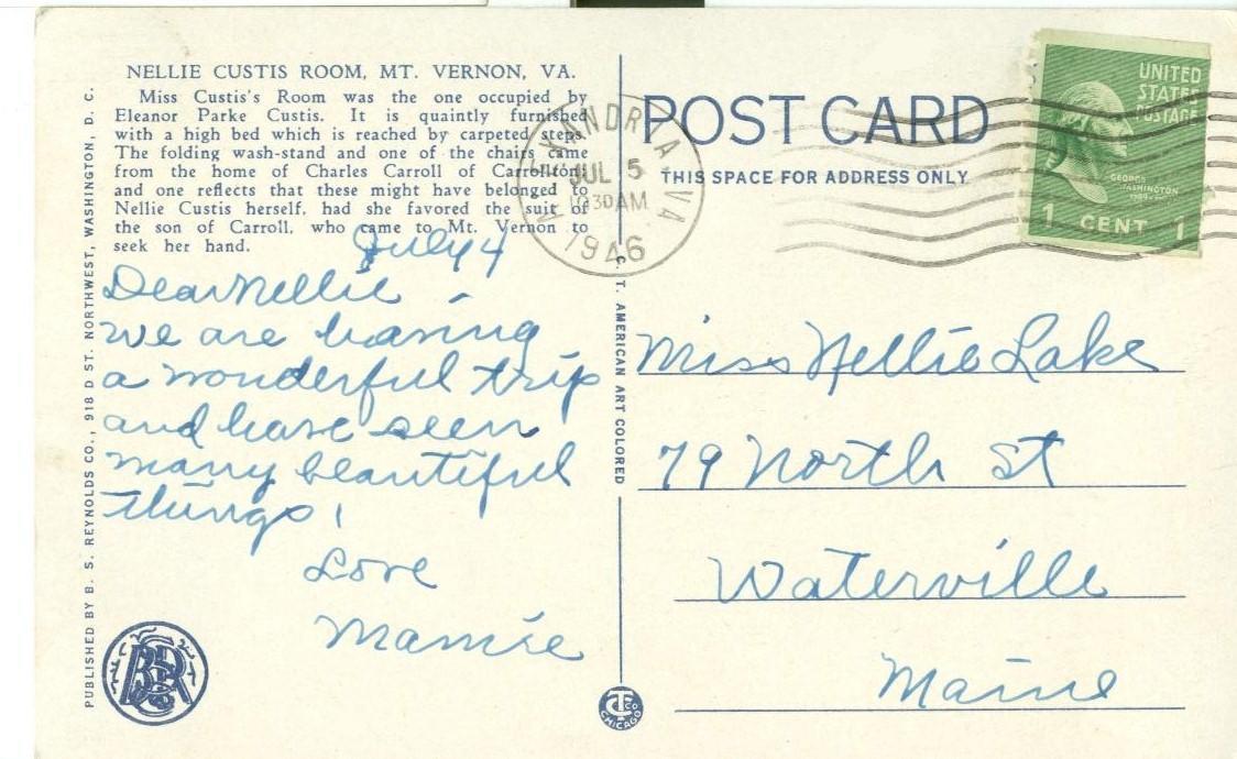 Nellie Custis Room, Mount Vernon, VA, 1946 used Postcard