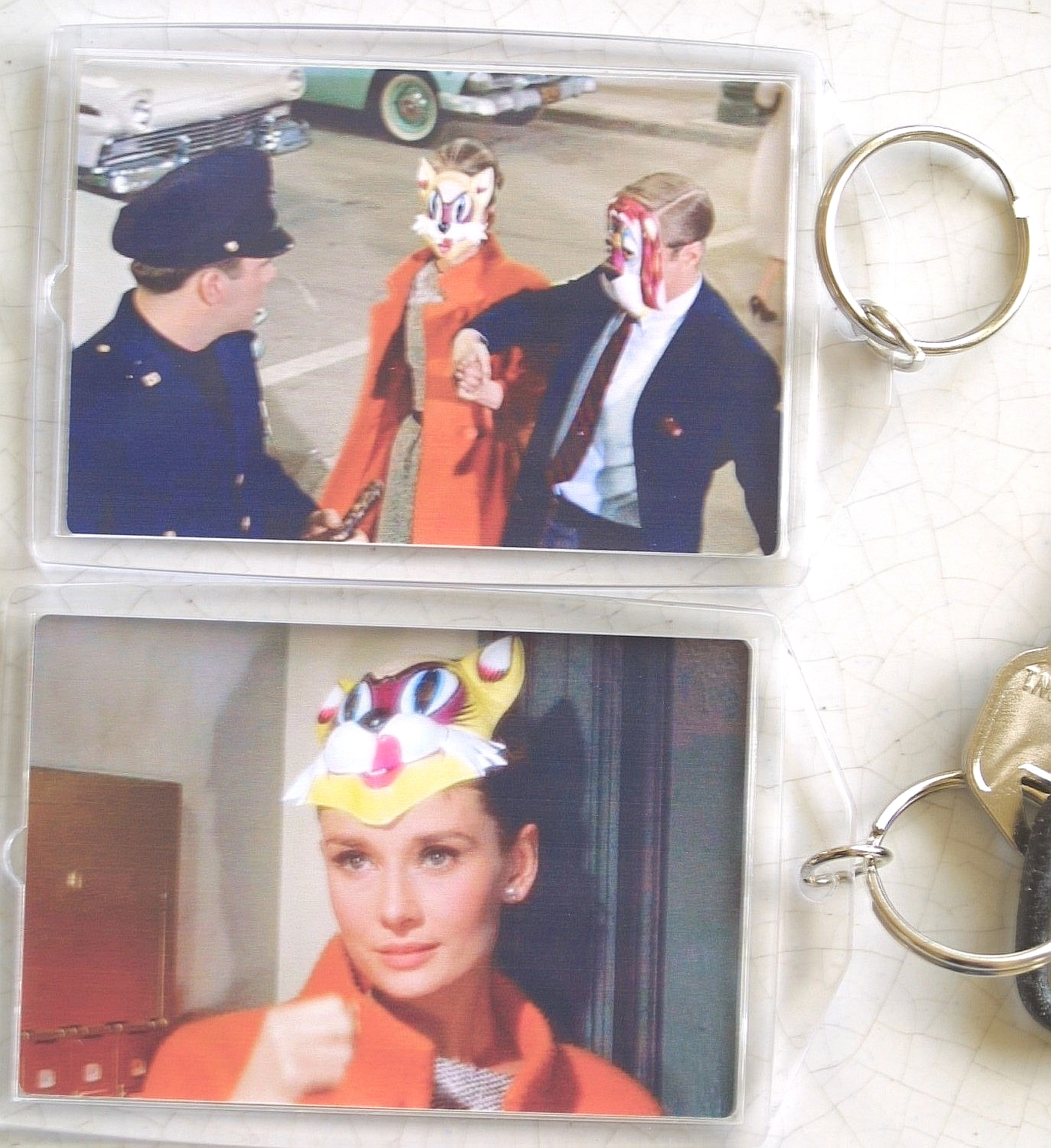 BREAKFAST AT TIFFANY'S Keychain Cat Holly Golightly Audrey Hepburn Key Chain OOP