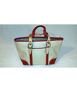 Coach Handbag Small Tote Hamptons Red Cream Leather Girls  - $41.00
