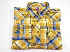 Cinch Slim Fit L Men's Pearl Snap Long Sleeve Multi-Color Check - $24.99