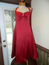 David's Bridal altered to about a size 4 Red Halter style Cocktail eveni... - $28.99