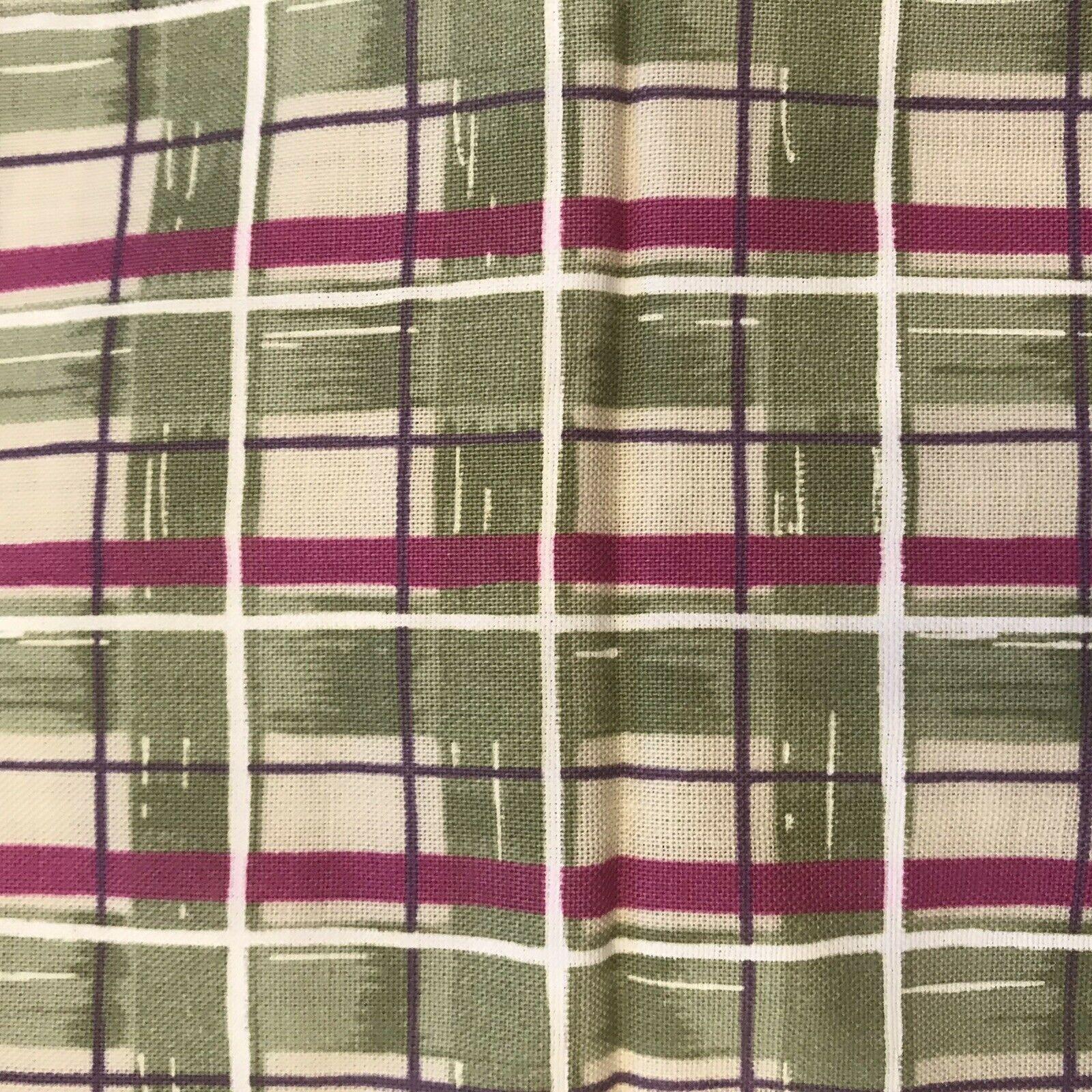 Daisy Kingdom Donna Dewberry Fabric Material Small Plaid Green Purple Springs - $9.28