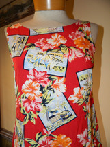 Villager by Liz Claiborne size Small Tropical floral Red Rayon sleeveles... - $9.99
