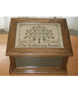 Light Oak Needlework Casket wooden box Patches ... - $225.00