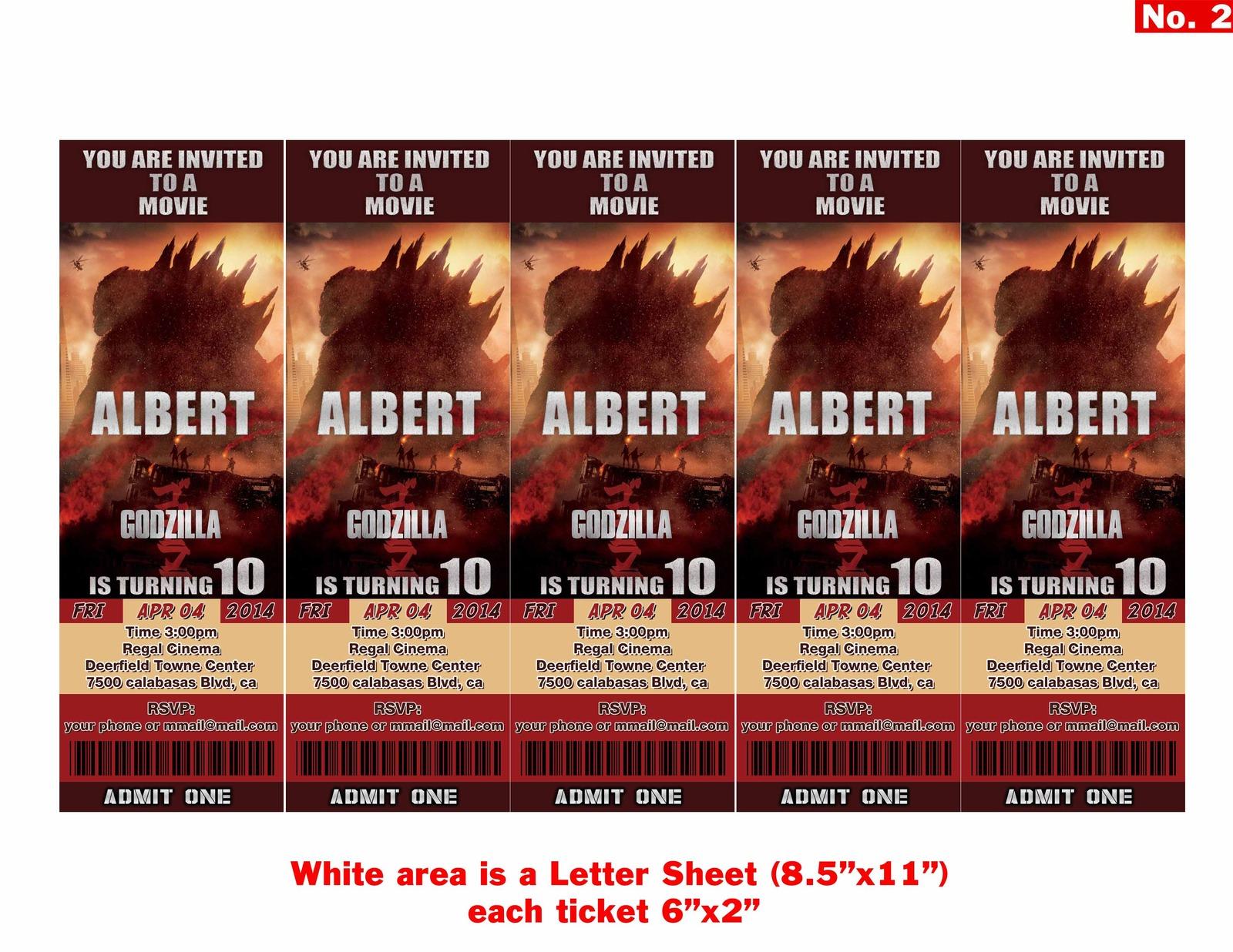 GODZILLA movie Birthday Invitation Tickets and 50 similar items – Birthday Invitation Tickets