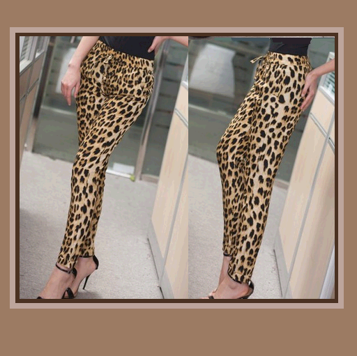 Leisure Loose Brown Leopard Print Pants with Elastic Waist