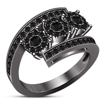 Bypass Engagement Ring Round Cut Diamond 10k Black Gold Finish Solid 925... - ₨5,902.14 INR