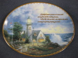 Light In The Storm Collector Plate Guiding Lights Thomas Kinkade Lighthouse - $21.95
