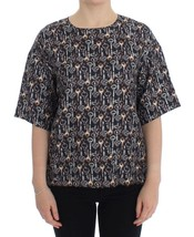 Dolce & Gabbana Gray Gold Key Print Silk Blouse T-shirt 13325 - $323.81