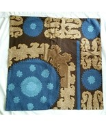 Pottery Barn SUZANI EMBROIDERED Blue / Brown Pillow Cover 26x26 NWOT #102 - $39.00