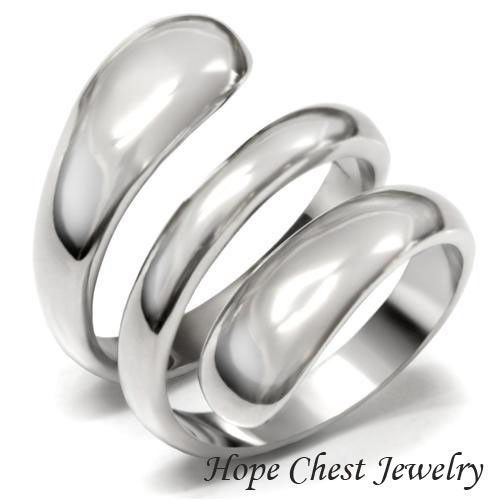 WOMEN'S SILVER STAINLESS STEEL SWIRL DESIGN WIDE BAND FASHION RING SIZE 5 - 9