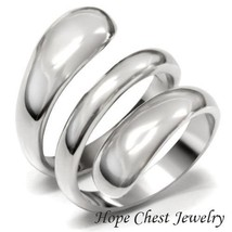 WOMEN'S SILVER STAINLESS STEEL SWIRL DESIGN WIDE BAND FASHION RING SIZE ... - $13.49