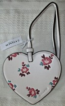 Coach Boxed Leather Printed Floral Heart Charm Ornament 28340 NWT Chalk - $26.00