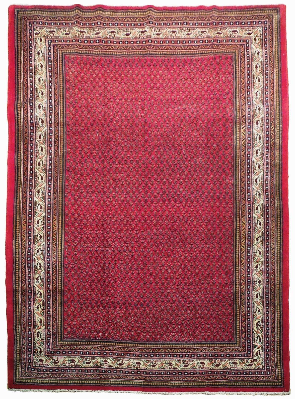 Vivid Boteh Flamed All-Over Persian Hand-Knotted 7x10 Red Mir Wool Area Rug