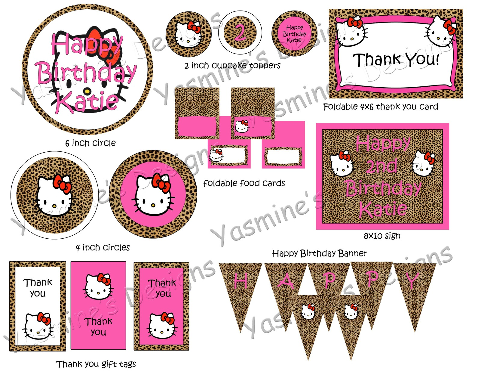 Custom cheetah Hello Kitty Birthday Party and 12 similar items – Hello Kitty Printable Birthday Card