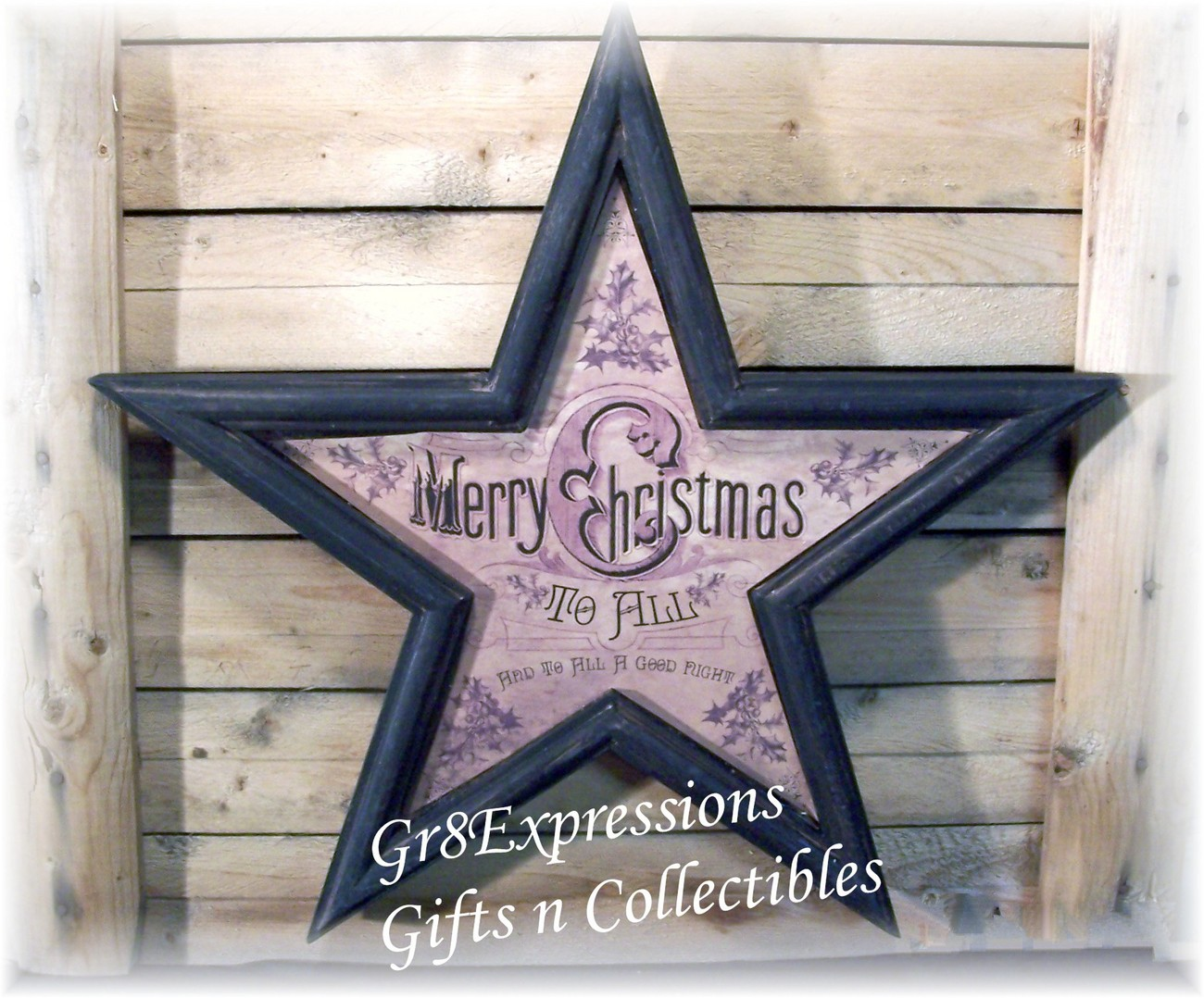 Merry christmas wooden star