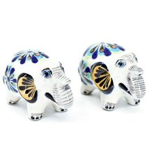 Ceramic Painted Elephant Salt & Pepper Shaker Set Shakers Handmade in Guatemala image 4
