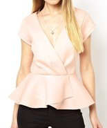 NWT ASOS Wrap Front Peplum Top with Short Sleeves Nude Pink size 4 UK 0 ... - £48.42 GBP