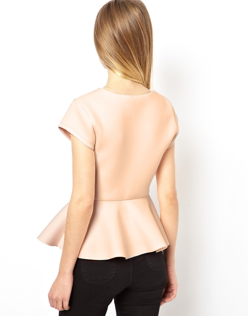NWT ASOS Wrap Front Peplum Top with Short Sleeves Nude Pink size 4 UK 0 US XS
