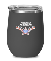 Independence Day Wine Glass PROUDLY AMERICAN Black-WG  - $25.95