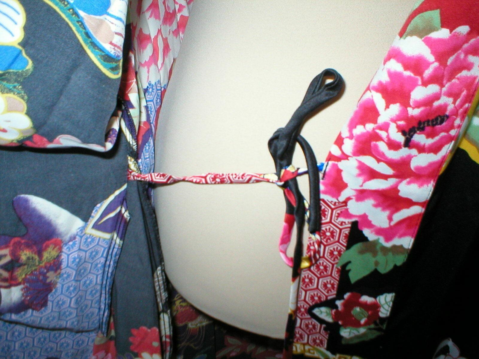 NWT New Designer Natori Wrap Robe Womens S Silky Satin Flowers Blue Red White image 12