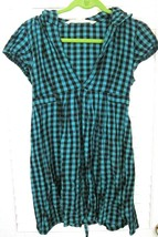 Earth Rocks Gingham Plaid Belted Hooded Tunic Cap Sleeve Deep V Neck Shi... - $17.80