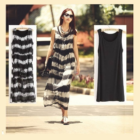 Retro Bohemian Chiffon Tie Dye Black & White Striped Straight Tank Maxi Dress