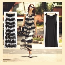 Retro Bohemian Chiffon Tie Dye Black & White Striped Straight Tank Maxi ... - $49.95
