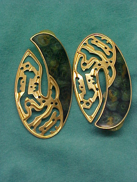 Berebi Goldtone Pierced Earrings, Green Enamel