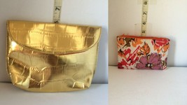 Lot of 2 incl Gold w Red interior Plus Multi-Color w zipper,2 Makeup/coi... - $4.21