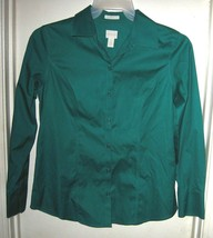 Chico's Green Button Front No Iron Long Sleeve Top Size 0 S 4 - $19.59