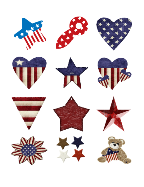The 4th of July flowers Stars Collage Sheet-Digital ...