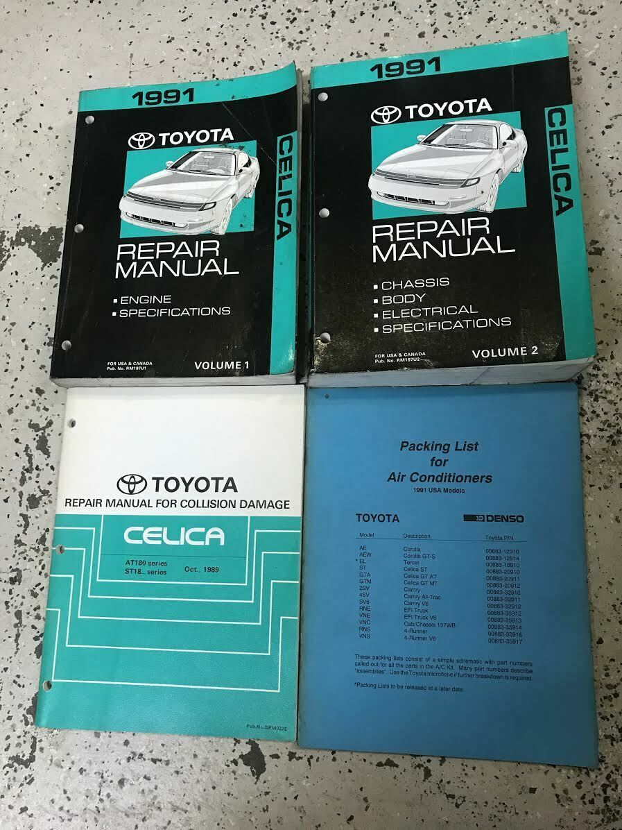 Primary image for 1991 Toyota Celica Service Repair Shop Manual Set OEM FACTORY W Body + AC