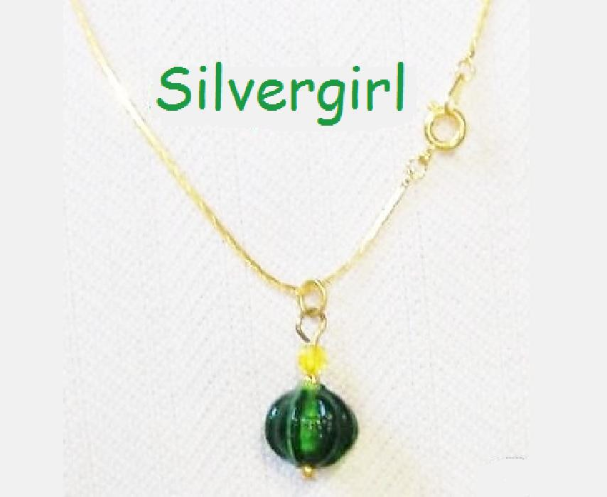 Green Squash Look Glass Ball Necklace Gold Plate Chain