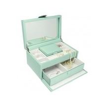 Dulwich Designs Pretty Duck Egg Blue Medium Jewelry Box Leather Locking ... - $197.00