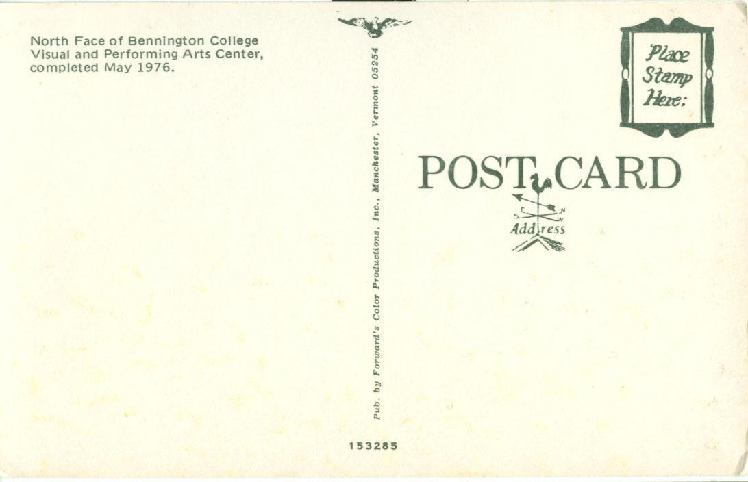 North Face of Bennington College, Vermont, 1976, unused Postcard