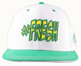 Flat Fitty Hashtag Fresh Wiz Khalifa Green White Snapback Baseball Hat Cap NWT image 1