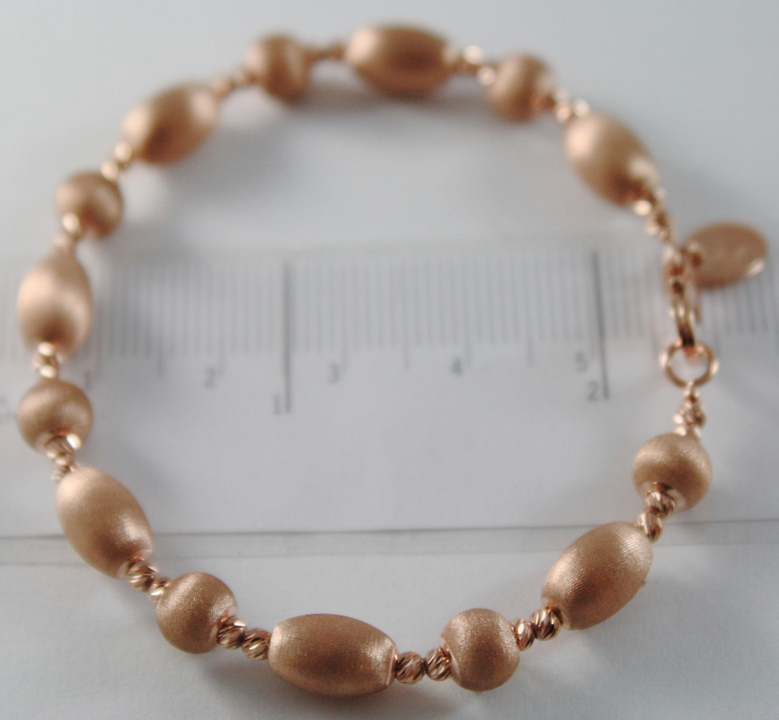 18K ROSE GOLD BANGLE SATIN WORKED OVALS FACETED BALLS BRACELET MADE IN ITALY
