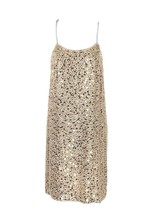 J Crew Women's Sequined Dress Spaghetti Strap Gold Peach Sample Sz 2 23051 - $119.59