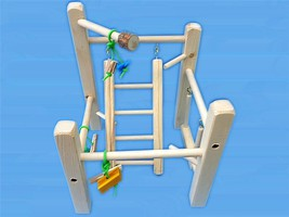 Cage Top Play Gym For Parrotlets, Budgies, Love Birds, With Ladd,Swing,&... - £15.27 GBP