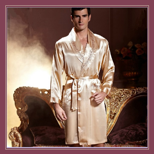 Men's Apricot Silk Long Sleeve Satin Robe with Silk Tie Sash Belt Front Pockets