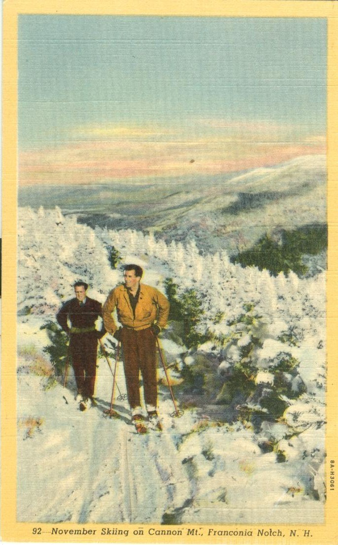November Skiing on Cannon Mt., Franconia Notch, NH, unused linen Postcard