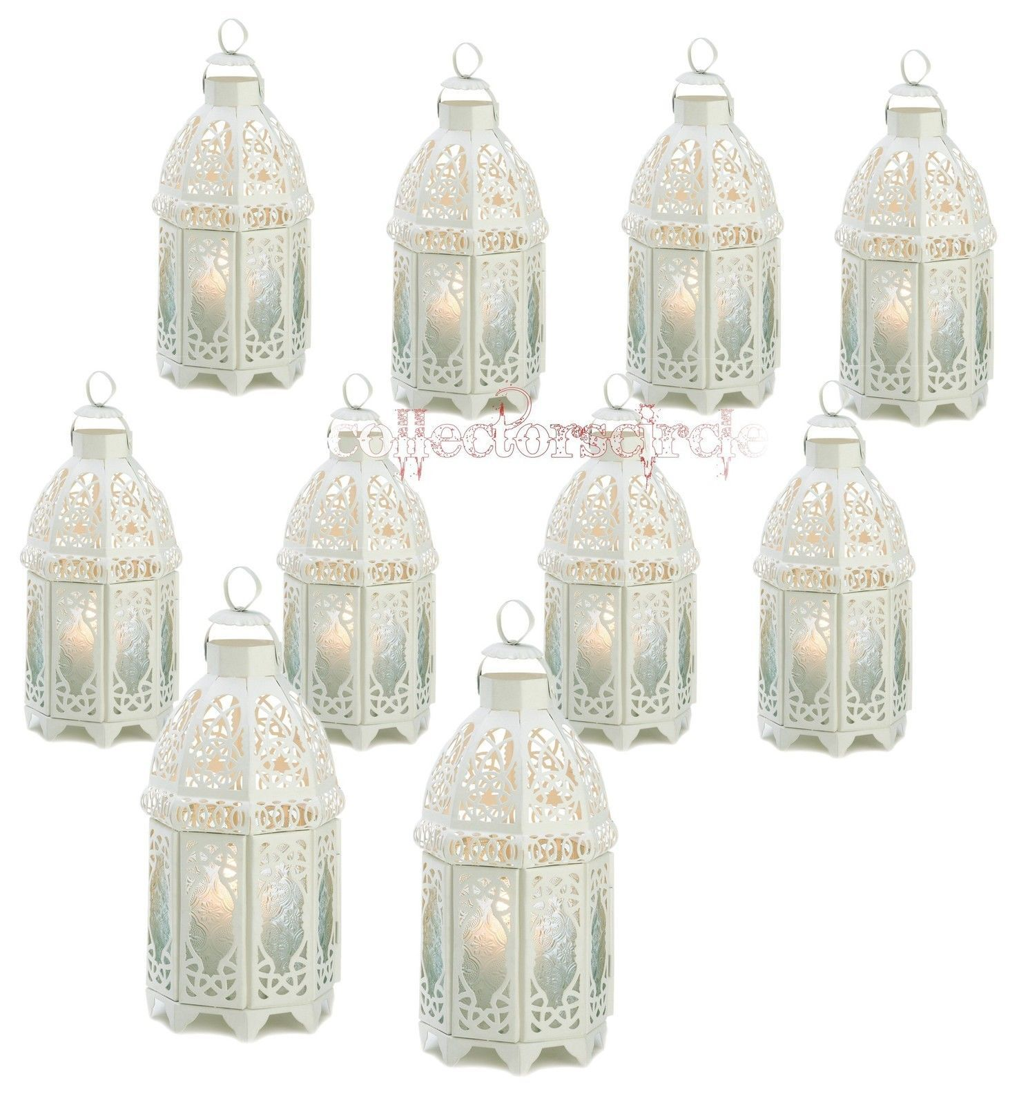 LOT 10 Creamy White Lattice Enchanting Candle Lanterns Wedding Centerpieces