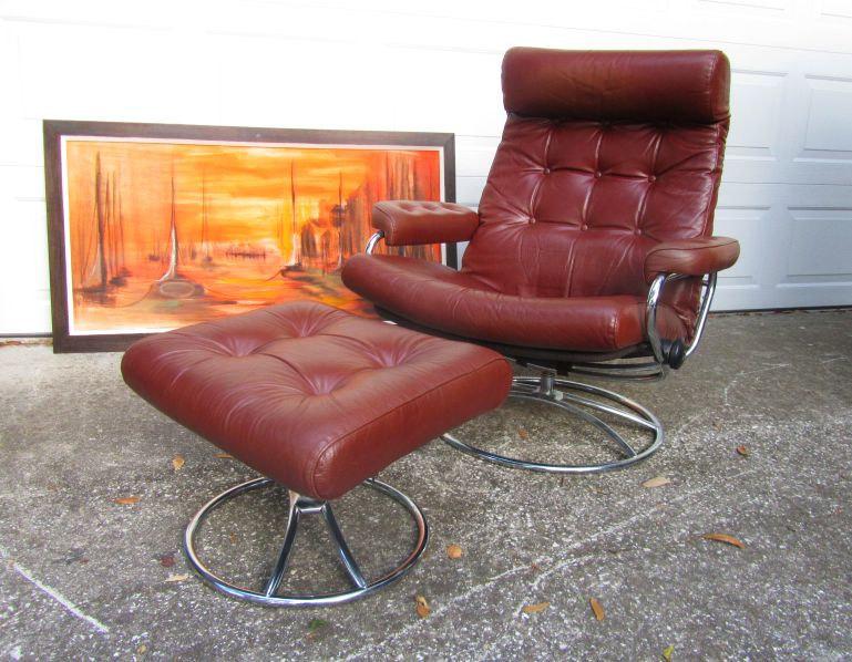 Ekornes Norway Lounge Chair Ottoman Vintage Mid Century Modern Eames Danish