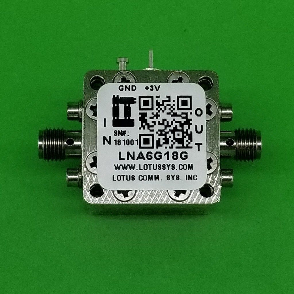 Broadband Low Noise Amplifier 1.5dB NF 6G~18GHz 22dB Gain 11dBm P1dB SMA