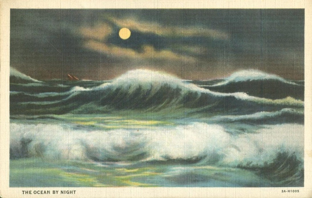 The Ocean by Night, 1937 used linen Postcard