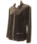 Chicos 0 S Jacket Brown Velour Satin Trim Zip Up Pockets Womens Small New - $23.51